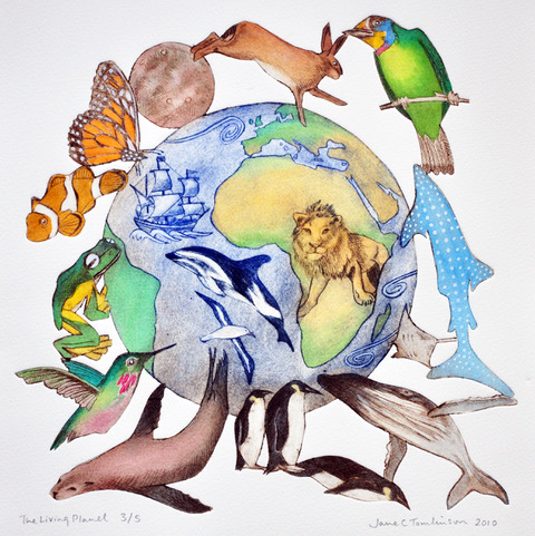Living Planet, a beautiful artwork by Jane Tomlinson showing Mother Earth surrounded by animals.